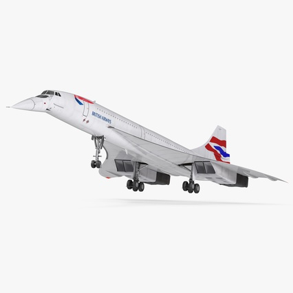 Concorde Supersonic Passenger Jet Airliner British Airways Rigged. Render 1
