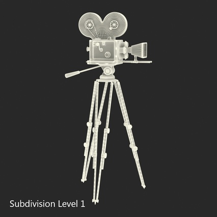Vintage Video Camera and Tripod. Render 29