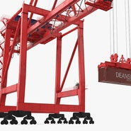 Port Container Crane Red with Container. Preview 15