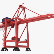 Port Container Crane Red with Container. Preview 6
