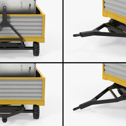 Airport Luggage Trolley with Container. Render 12