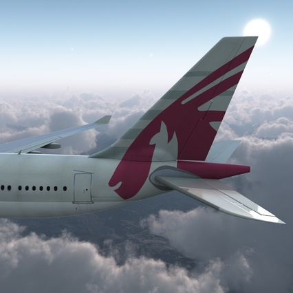 Jet Airliner Airbus A330-200 Qatar. Render 13