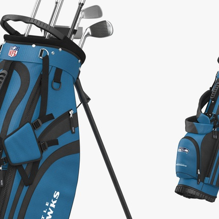Golf Bag Seahawks with Clubs. Render 7
