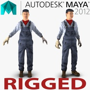Locomotive Engineer Rigged for Maya