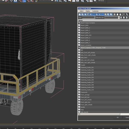 Airport Luggage Trolley Baggage Trailer with Container. Render 31