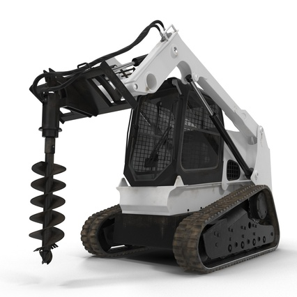 Compact Tracked Loader with Auger. Render 2