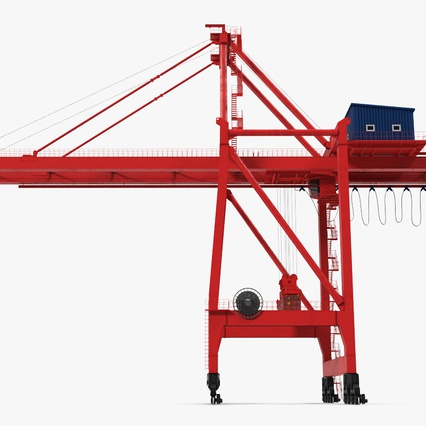Port Container Crane Red with Container. Render 5