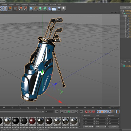 Golf Bag Seahawks with Clubs. Render 23