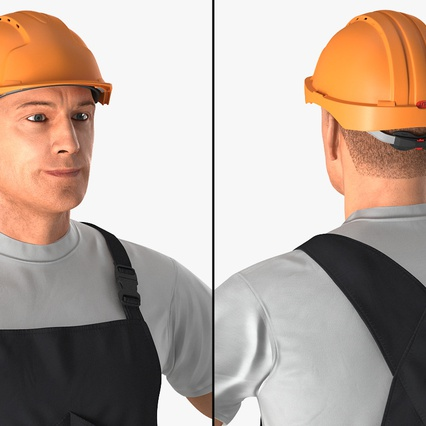 Construction Worker Black Uniform with Hardhat Standing. Render 8