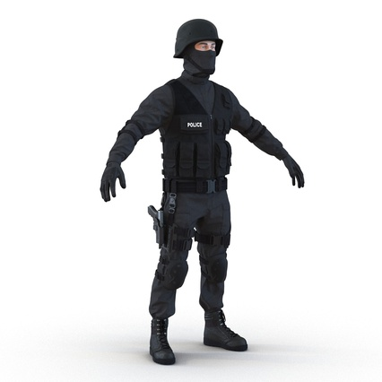 SWAT Man Mediterranean Rigged for Maya. Render 11