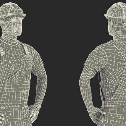 Construction Worker with Hardhat Standing Pose. Render 26