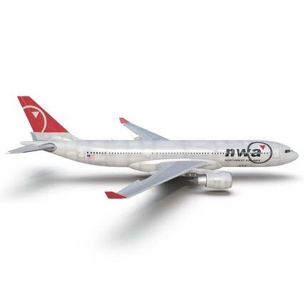 Jet Airliner Airbus A330-200 Northwest Airlines Rigged. Render 23