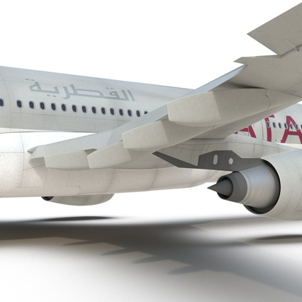 Jet Airliner Airbus A330-200 Qatar. Render 46