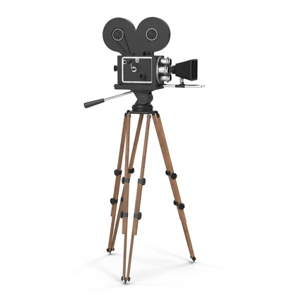 Vintage Video Camera and Tripod. Render 3
