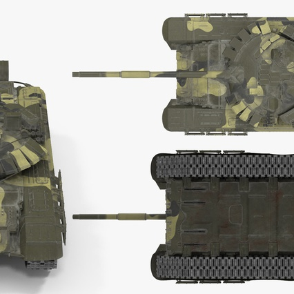 T72 Main Battle Tank Camo Rigged. Render 10