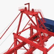 Port Container Crane Red with Container. Preview 22