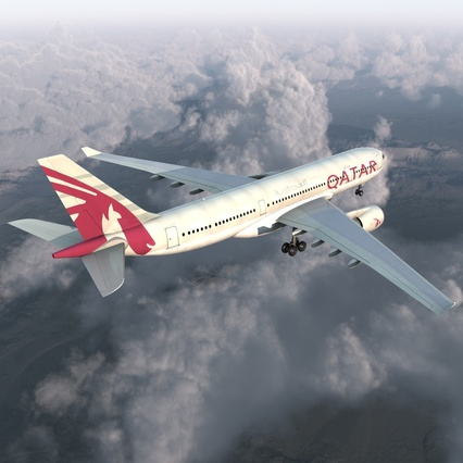 Jet Airliner Airbus A330-200 Qatar. Render 7