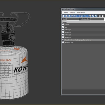 Gas Cylinder with Camping Stove Kovea. Render 17