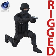 SWAT Man Mediterranean Rigged for Cinema 4D. Preview 1