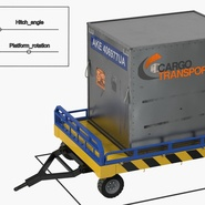 Airport Transport Trailer Low Bed Platform with Container Rigged. Preview 4