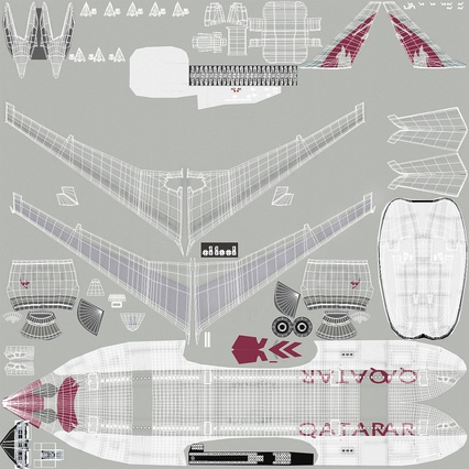 Jet Airliner Airbus A330-200 Qatar. Render 50