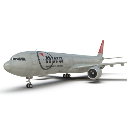 Jet Airliner Airbus A330-300 Northwest Airlines Rigged. Render 38