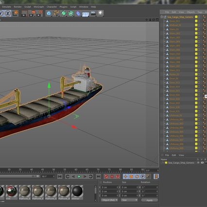 Sea Cargo Ship Generic. Render 29