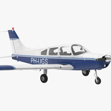 Piper PA-28-161 Cherokee Rigged. Render 3