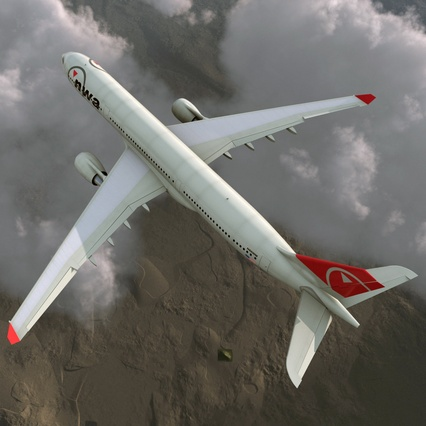 Jet Airliner Airbus A330-300 Northwest Airlines Rigged. Render 10