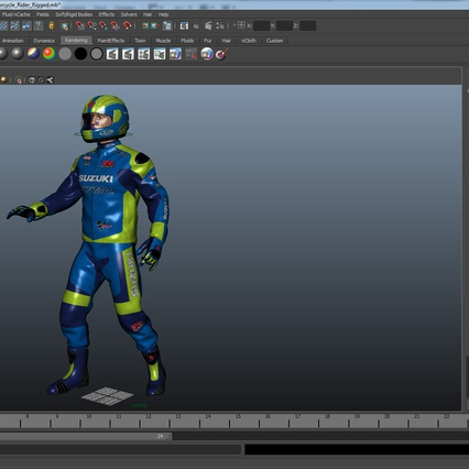 Motorcycle Rider Rigged for Maya. Render 47