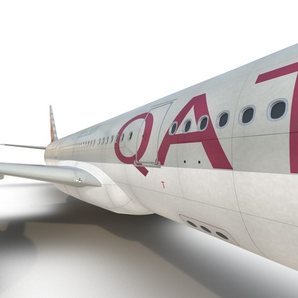 Jet Airliner Airbus A330-300 Qatar Rigged. Render 44