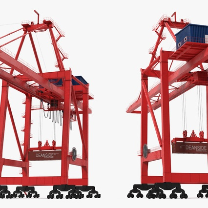 Port Container Crane Red with Container. Render 10