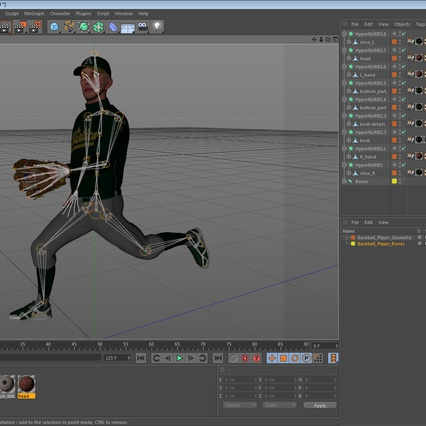 Baseball Player Rigged Athletics for Cinema 4D. Render 20