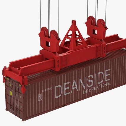 Port Container Crane Red with Container. Render 33