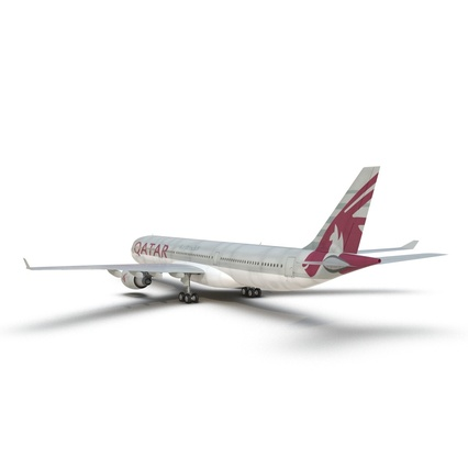Jet Airliner Airbus A330-300 Qatar Rigged. Render 22
