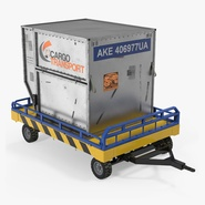 Airport Transport Trailer Low Bed Platform with Container