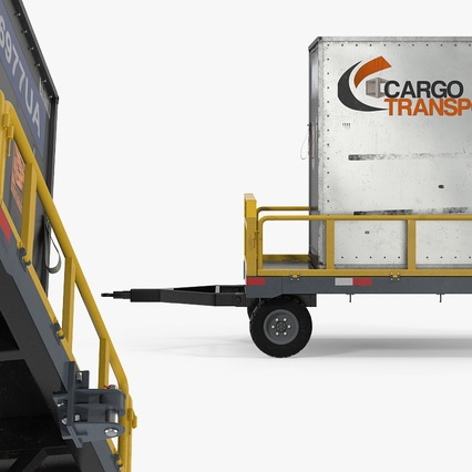 Airport Luggage Trolley Baggage Trailer with Container. Render 8