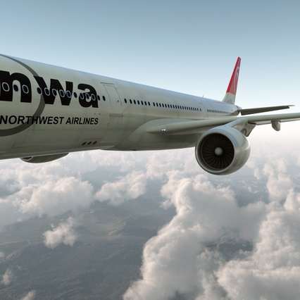 Jet Airliner Airbus A330-300 Northwest Airlines Rigged. Render 14