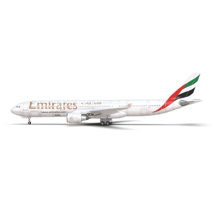 Jet Airliner Airbus A330-300 Emirates Rigged. Render 4