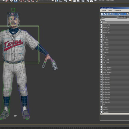 Baseball Player Rigged Twins 2. Render 24