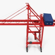 Port Container Crane Red with Container. Preview 12