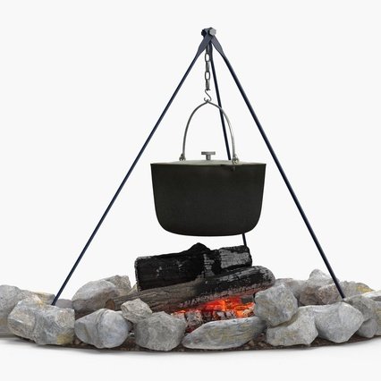 Campfire with Tripod and Cooking Pot. Render 6