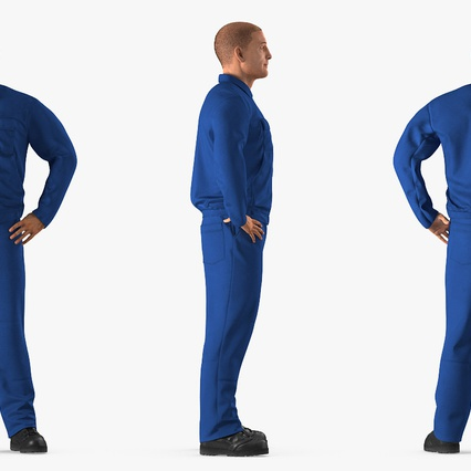 Construction Worker Blue Overalls Standing Pose. Render 5