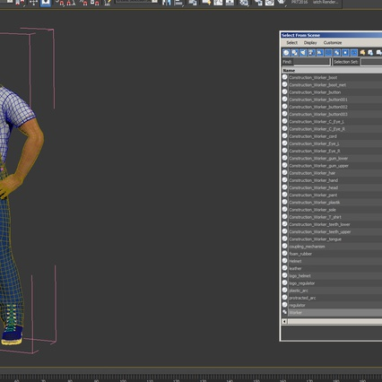 Construction Worker with Hardhat Standing Pose. Render 22