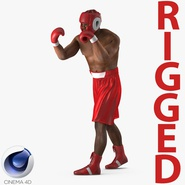 African American Boxer Red Suit Rigged for Cinema 4D