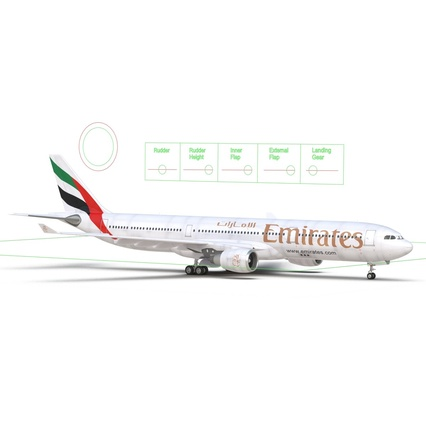 Jet Airliner Airbus A330-300 Emirates Rigged. Render 5
