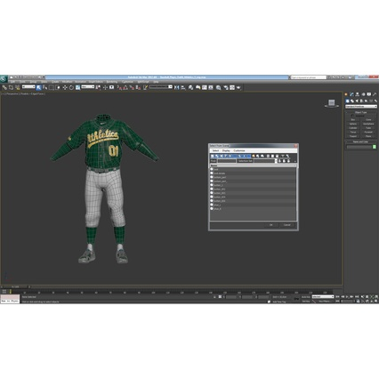 Baseball Player Outfit Athletics 3. Render 34