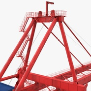 Port Container Crane Red with Container. Preview 28