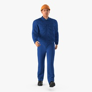 Worker In Blue Overalls with Hardhat Walking Pose