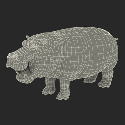 Hippopotamus Rigged for Cinema 4D. Render 30
